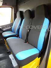 TO FIT A RENAULT MASTER VAN, 2008, SEAT COVERS, ANTHRACITE + BLUE SIDES 1S+1D