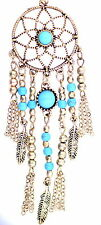 Gold and turquoise dream catcher style flower and leaf chandelier