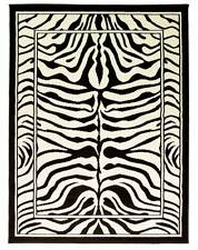 ZEBRA BLACK CREAM ANIMAL PRINT WILTON RUG 115X160CM