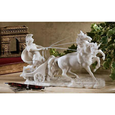 Roman Warrior Chariot Charging Bonded Marble Sculpture Home Gallery Statue