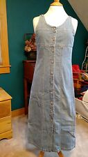 Vintage GAP BLUE JEAN denim LONG BUTTON DRESS, Sz 6, Sleeveless