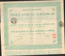 Titre 10 actions: Mines d'OR du KATCHKAR (BELGIQUE ARMÉNIE RUSSIE) (D)