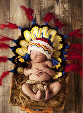 Newborn Baby Indians Crochet Knit Photography Props Hat Diaper Costume Outfits