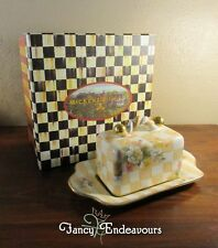 MacKenzie Childs Pottery Large Honeymoon Butter House Peach Squares Orange Marme