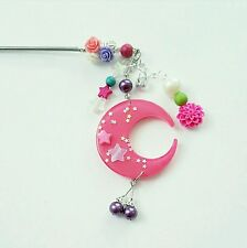 SALE New Kawaii Moon hair stick hair pin handmade pink Cute Chopstick fashion
