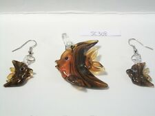 Brown Fish Lampwork Glass Pendant Necklace and Earring Set SC308