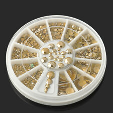 5 Sizes Wheel Womens Nail Art Decoration DIY 3D Acrylic Glitter Gold Rhinestone