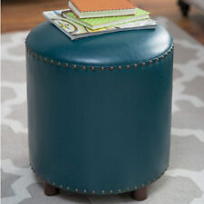Hassocks and Ottomans Footstools Hassock 1 Teal Round Bonded Leather Ottoman