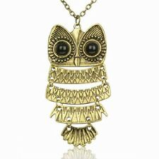 ADORABLE NEW BIG BRONZE FLUTTERING OWL PENDANT SWEATER CHAIN STATEMENT NECKLACE
