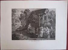 Eau-forte et burin, Les bons villageois, D'après David Teniers, XVIIIe siècle