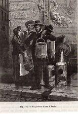 GRAVURE 1890 ENGRAVING PARIS PORTEUR D EAU WATERBOY