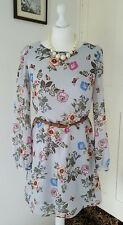 ATMOSPHERE PALE BLUE FLOWERY SHIFT DRESS  with belt SIZE 8