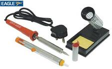 Soldering Iron Kit Mains Powered 30W Practical Stand, Solder Pump & 10g Of Wire