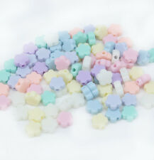 100pc Mixed Candy Colors flower shape Charm Acrylic Space Beads 9x9x4mm Dia. Z1