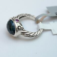 New DAVID YURMAN Silver & Blue Topaz, Amethyst Oval Renaissance Ring 6 NWT