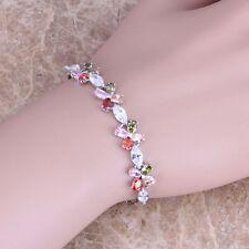 Glowing Multigem Green Peridot Silver Link Chain Bracelet For Women S0365