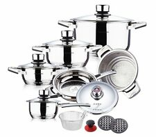 SWISS HUFEISEN 16 Pc Stainless Steel Cookware Set Fry Pans Induction Dutch Oven