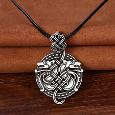 Viking Ornate Double Wolf Pendant Necklace Norse Slavic Ladies Mens Gift