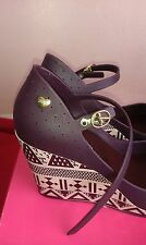 Womens Mel Jelly Popstar 2 Shoe/Sandals/Wedge Heels Plum Aztec Print Size 7