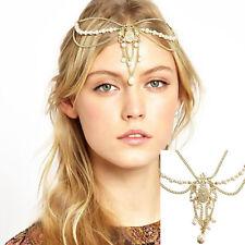 Fashion Women's Pearl Beads Tassels Chain Wedding Crown Head Hair Headband Decor