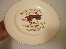 Vintage Collectors Plate - Fire Fighter Man Station New Egypt New Jersey NJ