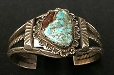 Vintage Turquoise & Sterling Cuff Bracelet * Native American Indian *Dead Pawn*