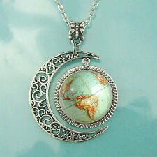 Vintage Globe Necklace Planet Earth World Map Art Pendant Moon jewelry BFF Gifts