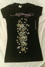 Womens Ed Hardy Skulls and Roses T Shirt Size XS