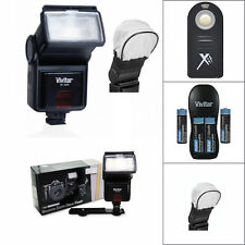 PRO FLASH + REMOTE + CHARGER + BATTERIES FOR CANON EOS REBEL 1100D 1200D 1300D