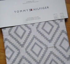 Tommy Hilfiger GRAY Diamond Lake 2) WINDOW PANELS CURTAINS 50x96 grey Rod COTTON