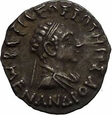 MENANDER I Soter Indo Greek Kingdom India 155BC Athena Silver Greek Coin i52221