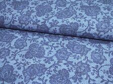 Jersey Blumen Rosen Jeansdruck blau Kinderstoff Meterware Baumwolljersey Denim