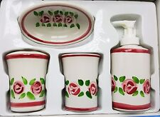 Rose Floral Bath Set Lotion Soap Pump Dispenser Cup Toothbrush Holder 4pc New
