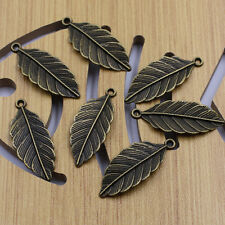 Wholesale 12Pcs Antique Bronze Leaves Charm Pendant Beaded Jewelry Findings