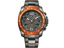 New Tommy Hilfiger Steel Gray Dual Time Men Oversize Watch 52mm 1790869 $225