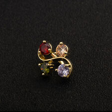 18K Gold Plated 4 Color CZ Dangle Piercing Belly Button Navel Belly Bar Gift