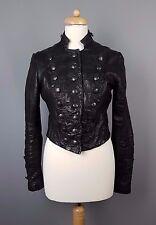 AllSaints Karst biker jacket Military leather cropped black UK 12