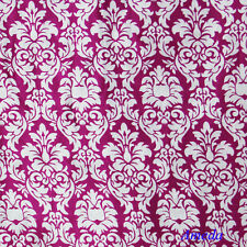 "1 Yard Damask Fabric Red Hot Pink Black White Vintage Demask Satin 48"" Wide"