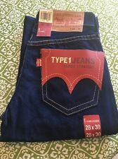 NEW LEVIS TYPE 1 MEN'S ICONIC STRAIGHT VINTAGE WASH BLUE DENIM JEANS SZ 28x30