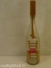 "Vintage Ladder-back Chair in a Bottle Folk Art wood red yarn clear glass 14"""