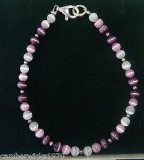 ARGENTO Sterling viola, rosa e bianco Gatti Occhio Con Perline Bracciale Stretch