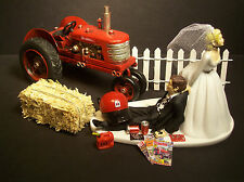 No Farming INTERNATIONAL HARVESTER TRACTOR IH Bride & Groom Wedding Cake Topper