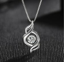 Sterling Silver Halo Moving cubic Zirconia CZ Heart Pendant Necklace Chain Box