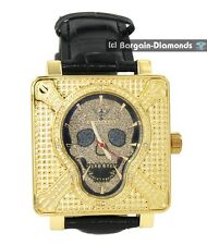 men's diamond king skull watch gold tone red black dial leather strap pinhead