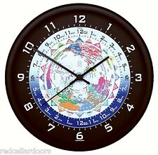New TRINTEC WORLD TIME Clock 24 Time Zones Colorful Map UTC GMT ZULU NEW 10""