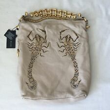 NWT Thomas Wylde Nude Lambskin Leather Gold Chain Scorpion Shoulder Hand Bag.