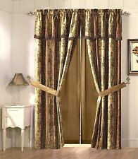 Vintage Stripe Window Curtain Gold, Burgundy, Floral Drape Set Valance 2 Panel