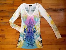 Christian Audigier Graphic T-Shirt Mini Dress Panthers Roses Sz Xs GORGEOUS!!