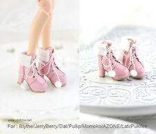 Wool ball snow boo shoes_PINK for Blythe/DAL/Pullip/Momoko/ Lati_y/Pukifee