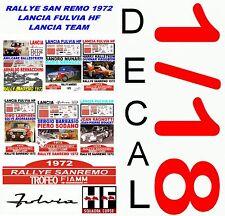 DECAL 1/18 SET RALLYE SAN REMO 1972 LANCIA FULVIA HF LANCIA TEAM (02)